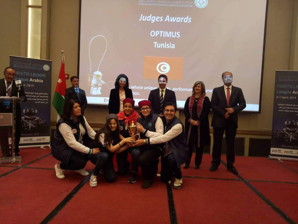 First Lego League Arabia 2019 robot turnuvasında Maarif ekibine Optimus ödülü